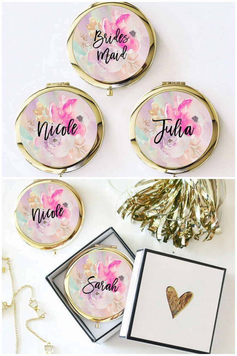 Above These Personalized Compact Mirrors Bridesmaid Gifts Are Perfect For Your Squad To Pop In Their Purses Or Make Up Bags Emergency Touch Ups