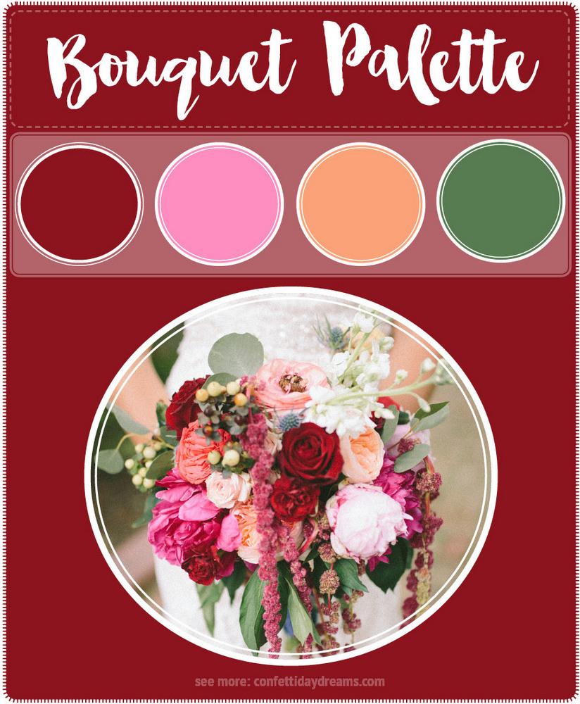 Burgundy blush peach wedding flowers