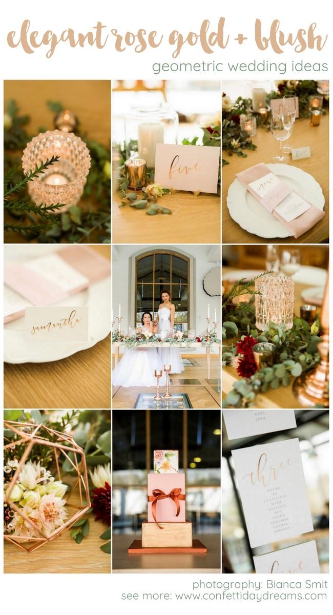 Oh So Elegant Copper Rose Gold Blush Geometric Wedding