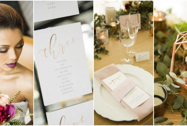 Elegant Copper Rose Gold+ Blush Geometric Wedding Decor {Bianca Smit Photography}