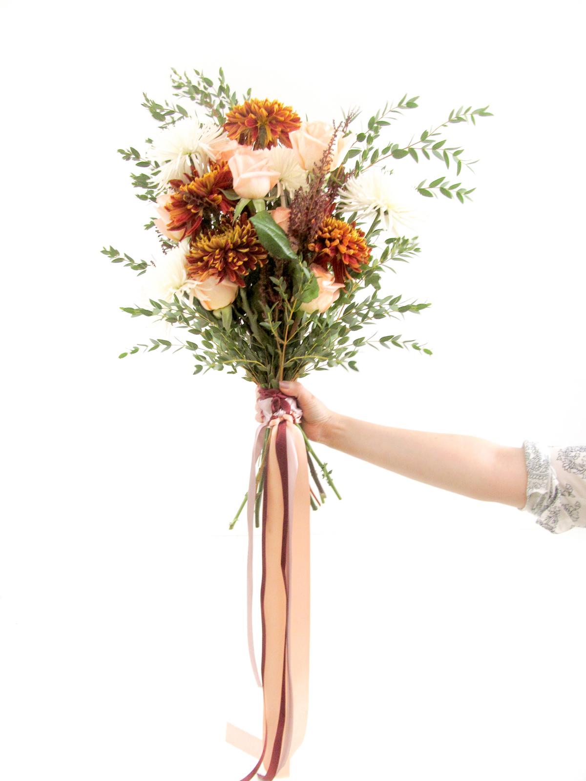 Easy Burgundy Cream DIY Wedding Bouquet Tutorial