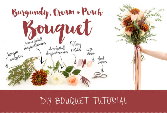 Easy Burgundy + Cream Wedding Bouquet: DIY Tutorial