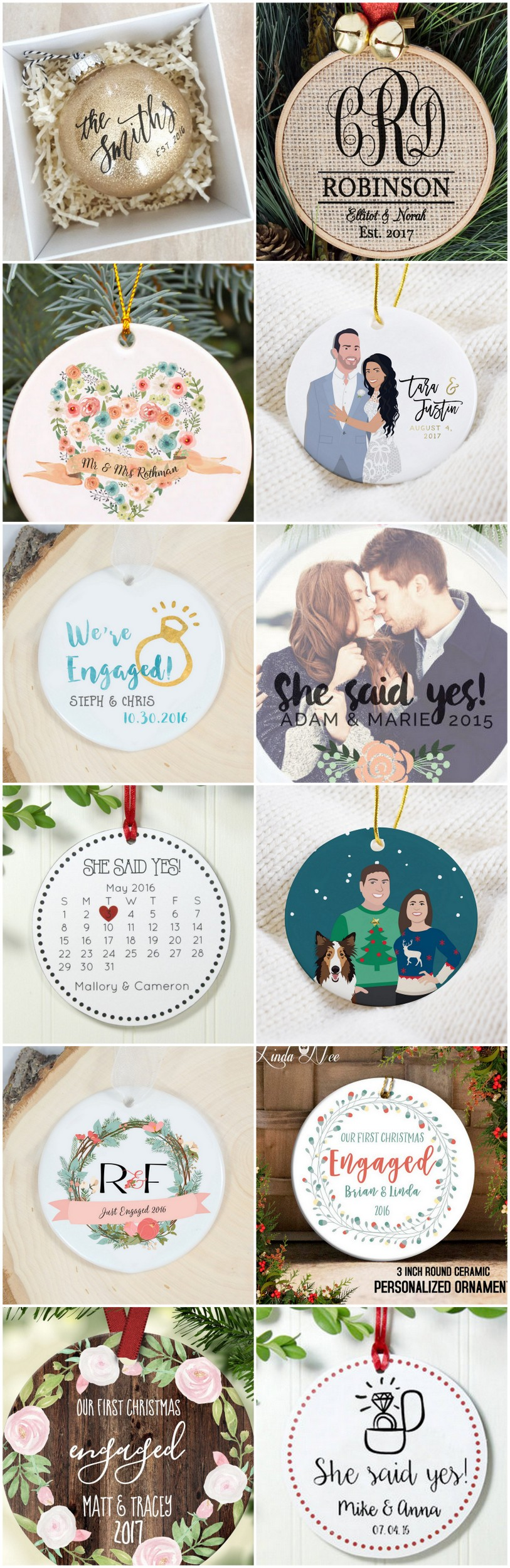 Custom Engaged Ornaments for Christmas Couples