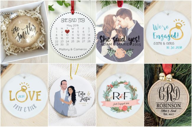 Christmas engagement ornaments