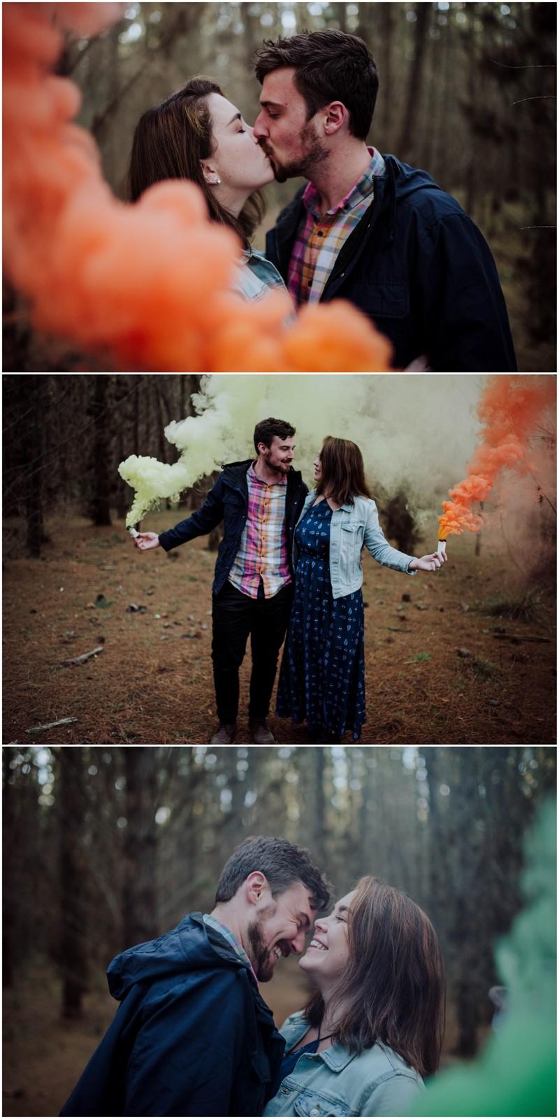 Coloured Smoke Engagement Photographs