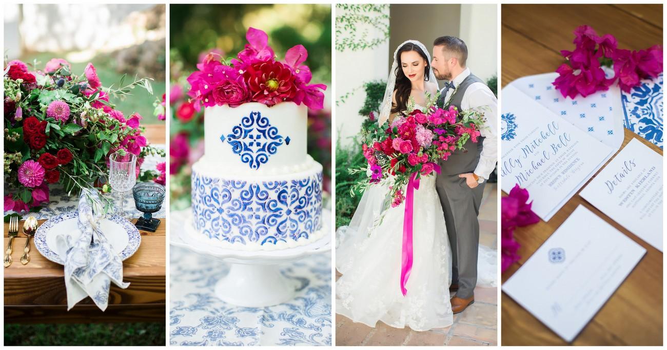 Bougainvillea and Blue Spanish Ceramic Wedding Ideas