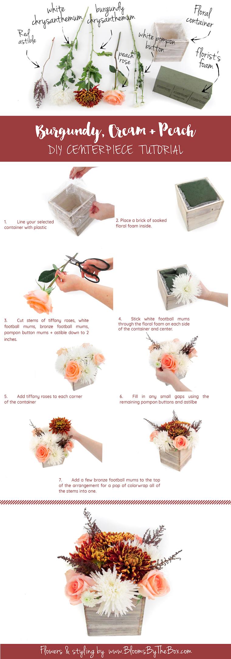 Burgundy and cream diy wedding centerpiece tutorial