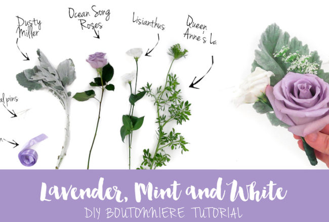 Sweet + Simple Lavender Mint & White DIY Boutonniere Tutorial
