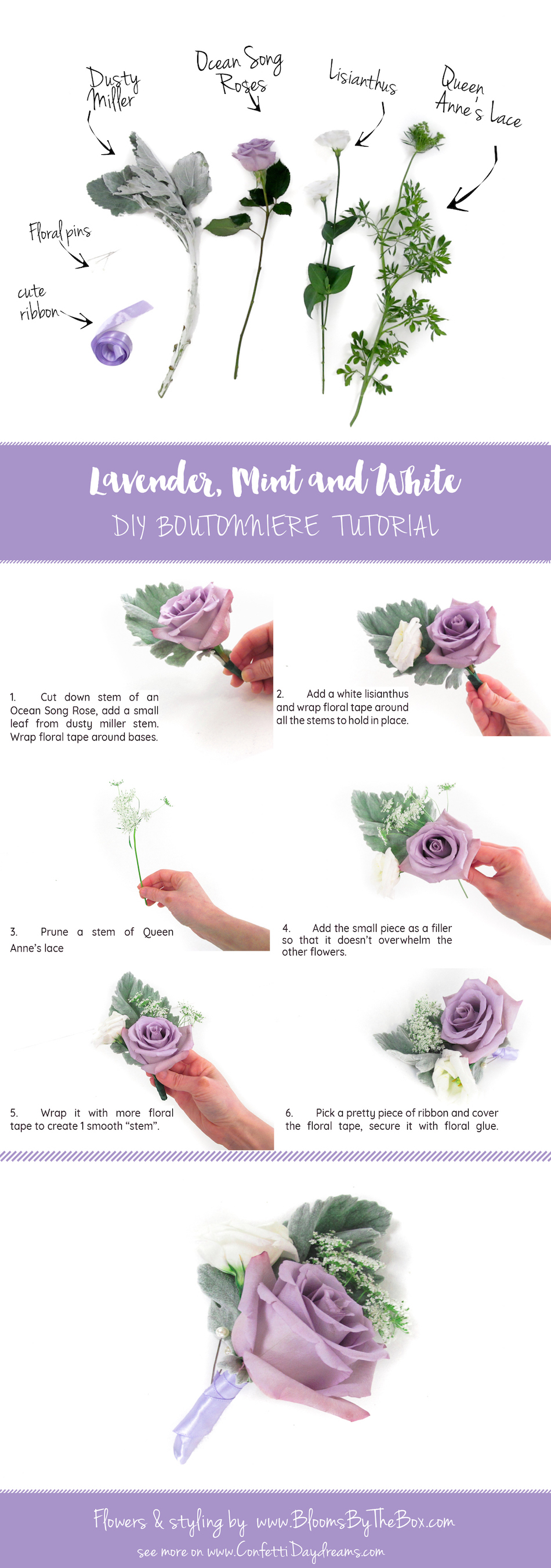 Easy Lavender Mint and White DIY Boutonniere Tutorial