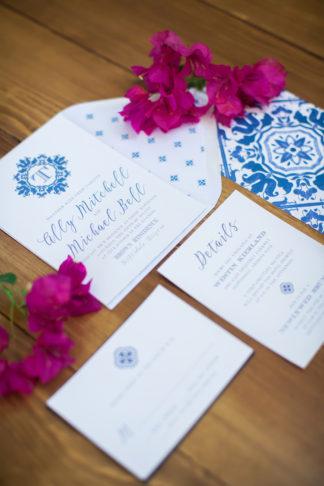 Spanish tile wedding invitations