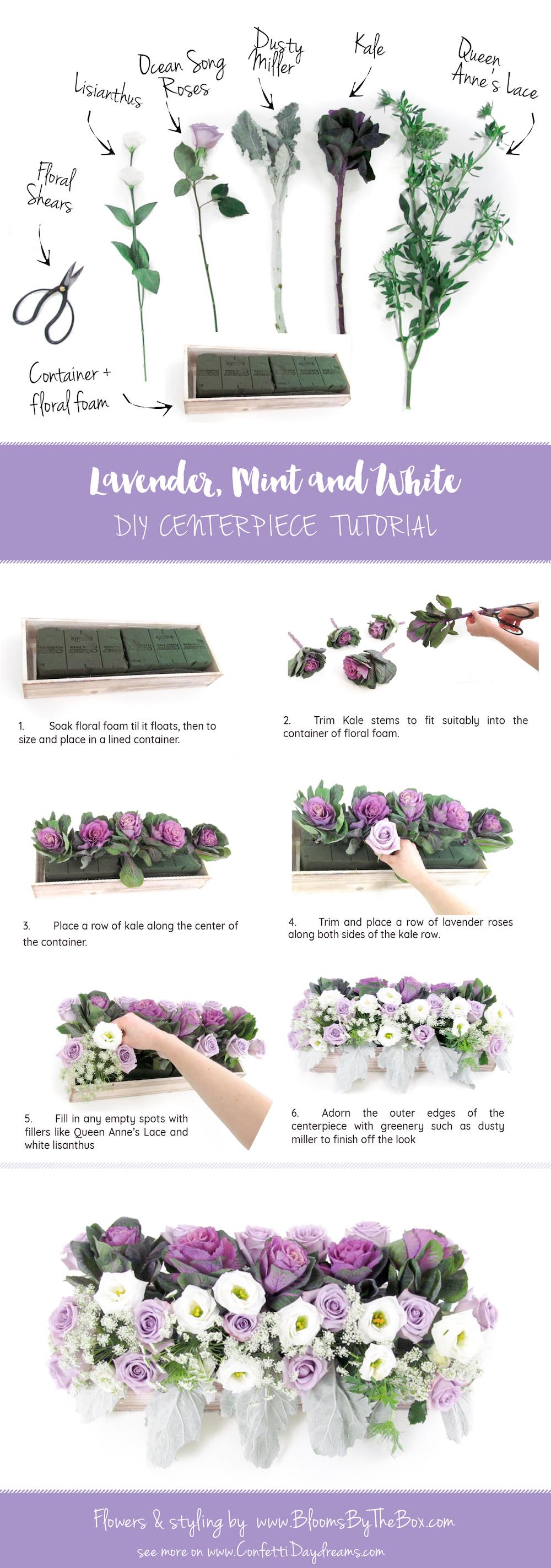Lavender Mint & White DIY Centerpiece