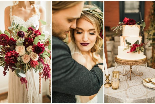 Boho-Inspired Burgundy, Ivory + Green Wedding