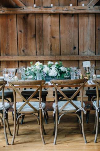 Elegant barn wedding centerpieces