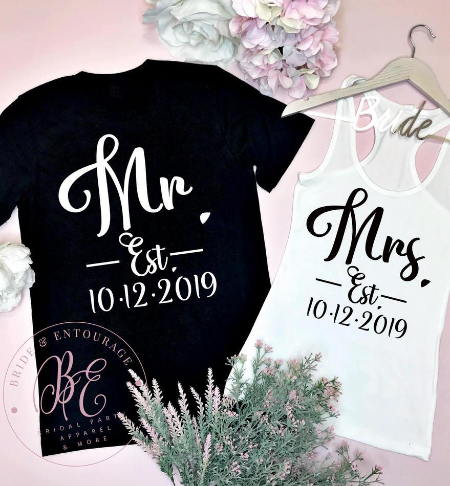 Mr and Mrs Established Year Honeymoon shirts
