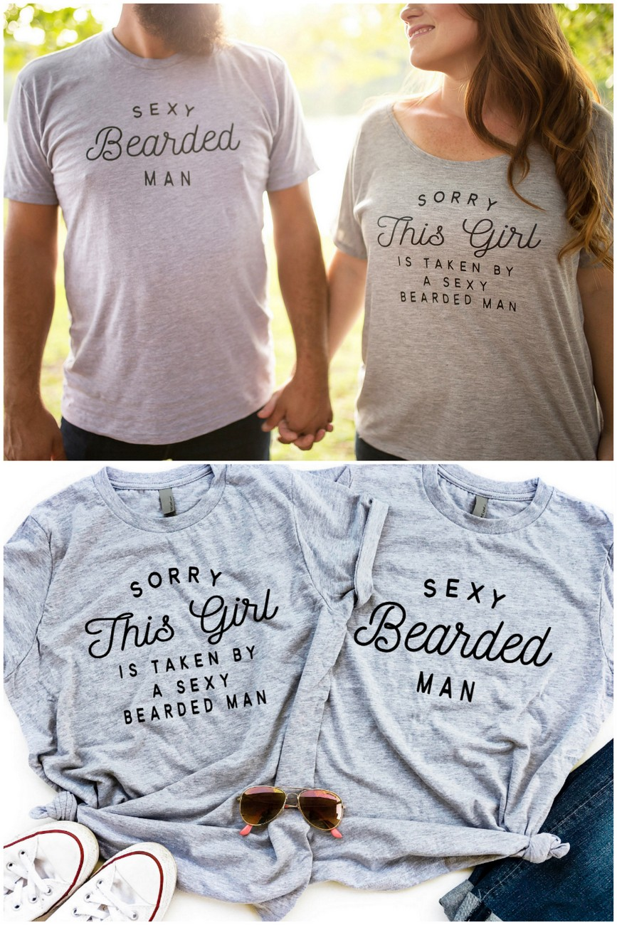 'Sorry this girl is taken by a bearded man' honeymoon shirt