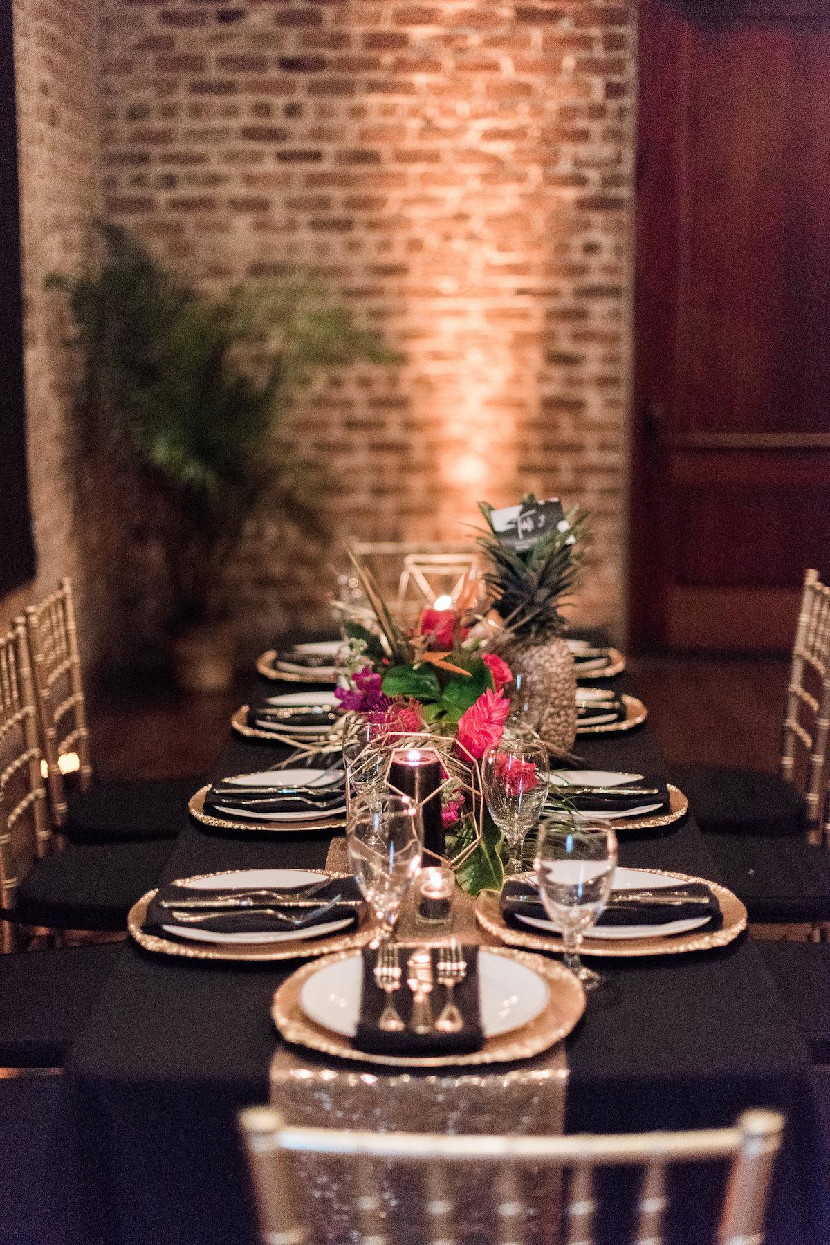 Gold Black Tropical Elegance Wedding