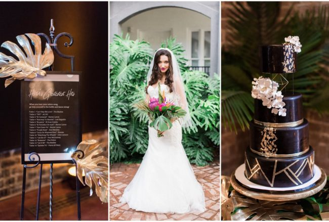 Glam Gold + Black Tropical Wedding {Apt. B Photography}