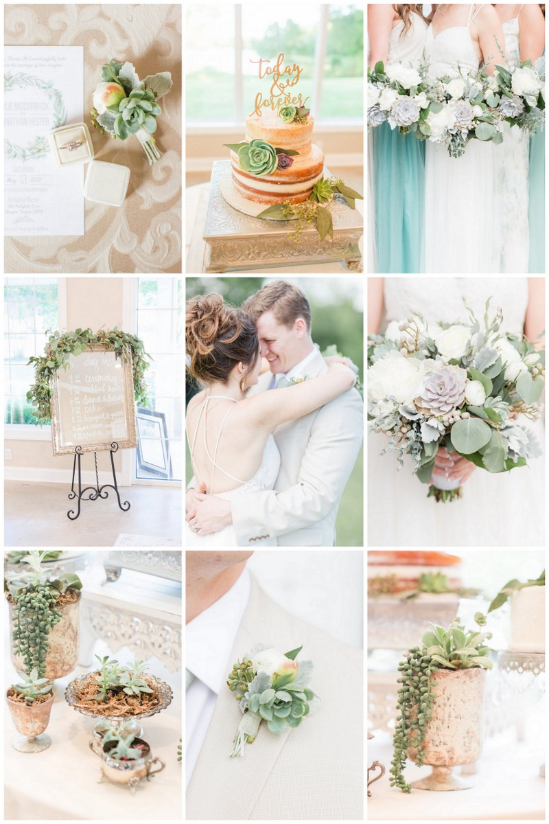 Pretty Greenery and Succulent Wedding Ideas in Pastel