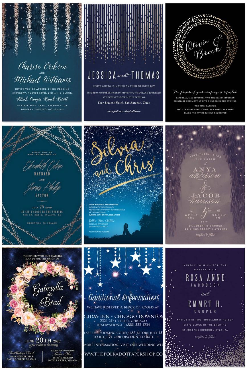 Sparkling Starry Night Wedding Invitations: Blue Moon Wedding Invitations At Websimilar.org