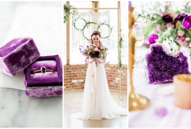 Romantic Violet + Gold Wedding Ideas with Boho + Geode Touches {Sarah Goff Photography}