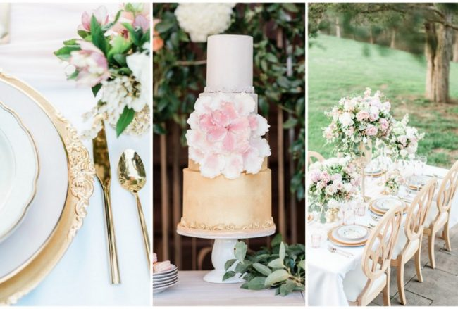 Romantic Pink and Gold Wedding with Gorgeous Garden Details! {Rachiel Q Photography}
