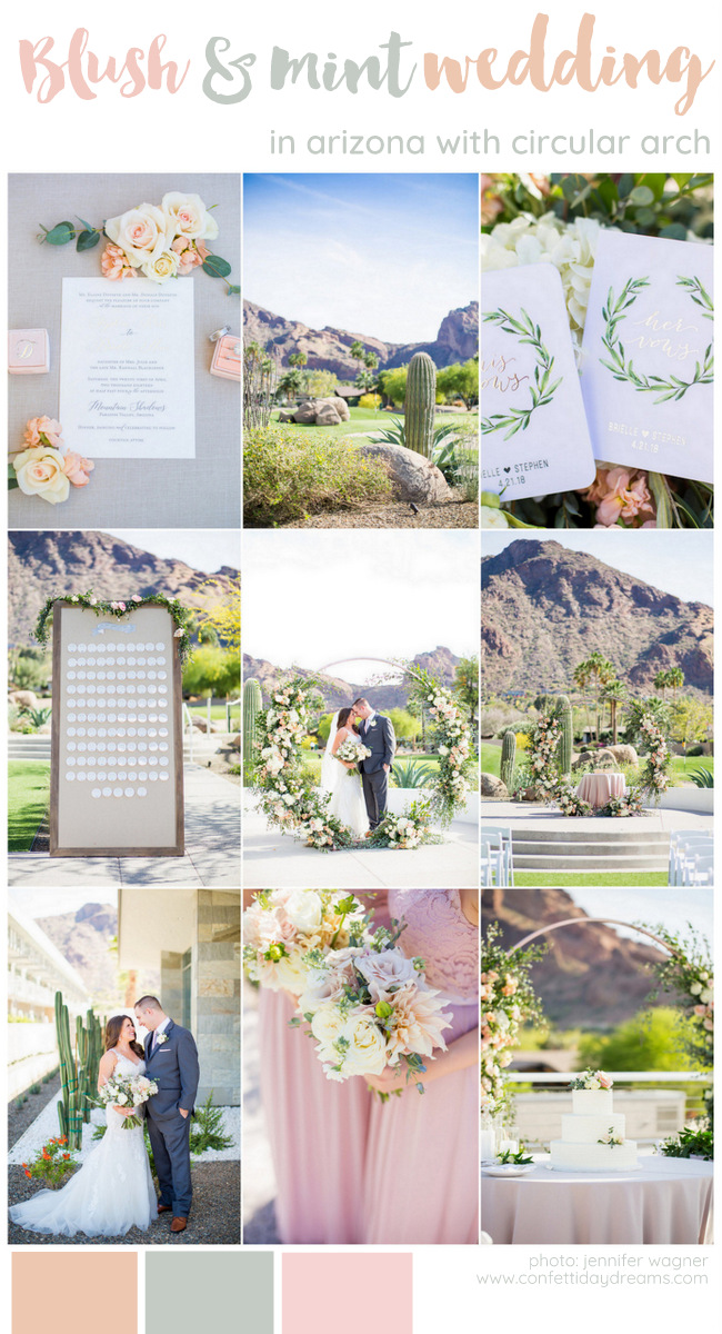 Blush + Mint Arizona Wedding with Circular Floral Arch at Mountain Shadows