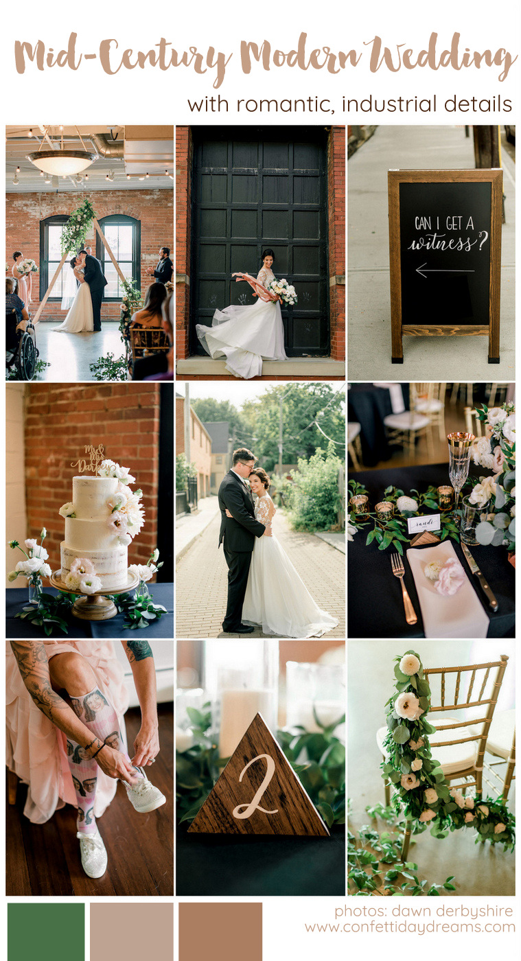 Romantic Mid Century Modern Wedding Inspiration with Industrial Touches