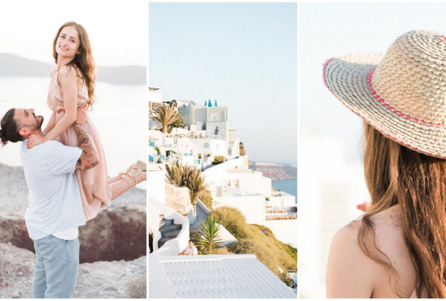 Light-filled Santorini Engagement with Destination Tips