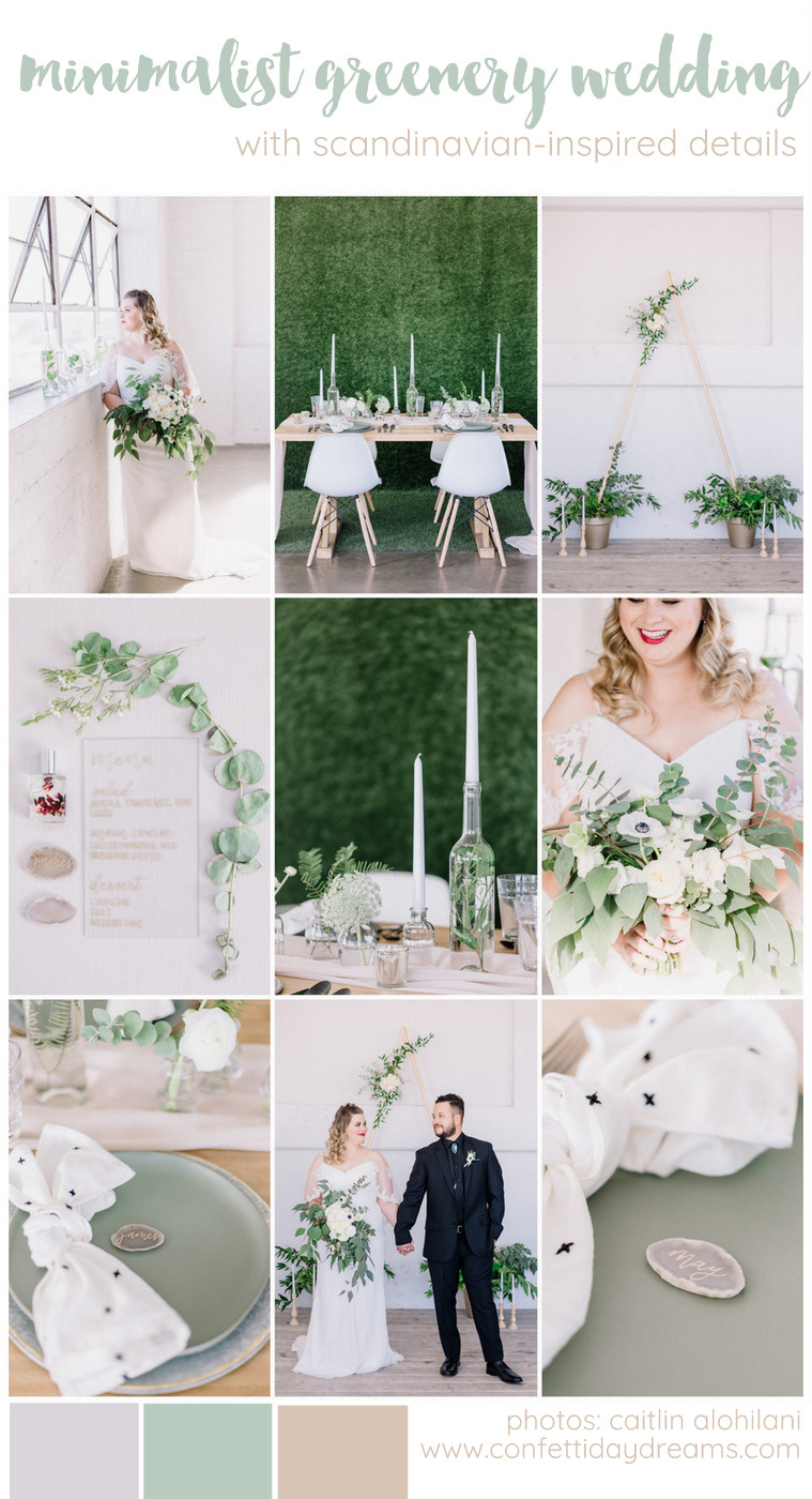 Minimalist, Scandinavian-Inspired Greenery Wedding Inspiration