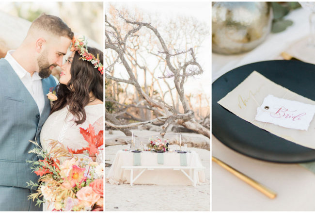 Romantic Bohemian Beach Wedding Ideas at Driftwood Beach