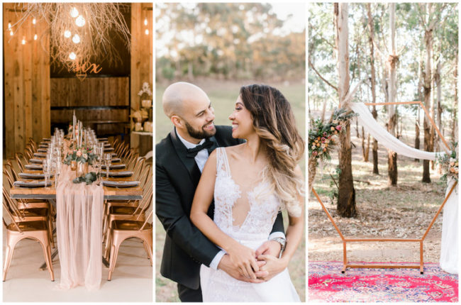 Gold Blush Geometric Boho Wedding Ideas