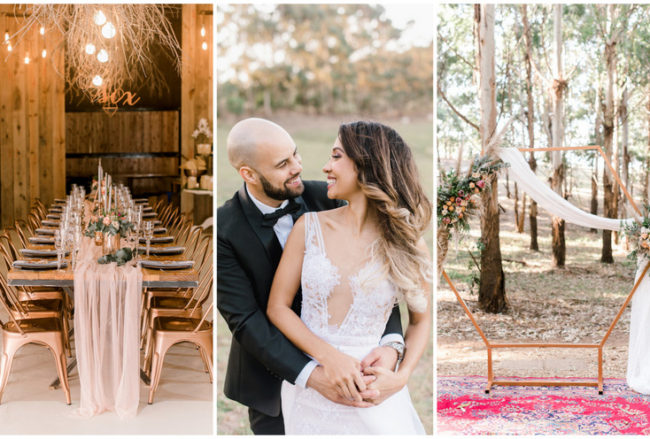 Romantic Gold + Blush Geometric Boho Forest Wedding