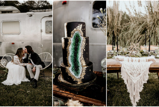 Intimate Airstream Wedding with Geode + Macrame Details