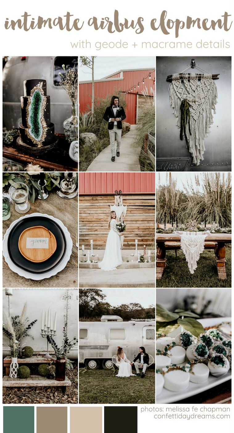 Intimate Airbus Wedding with Geode + Macrame Details