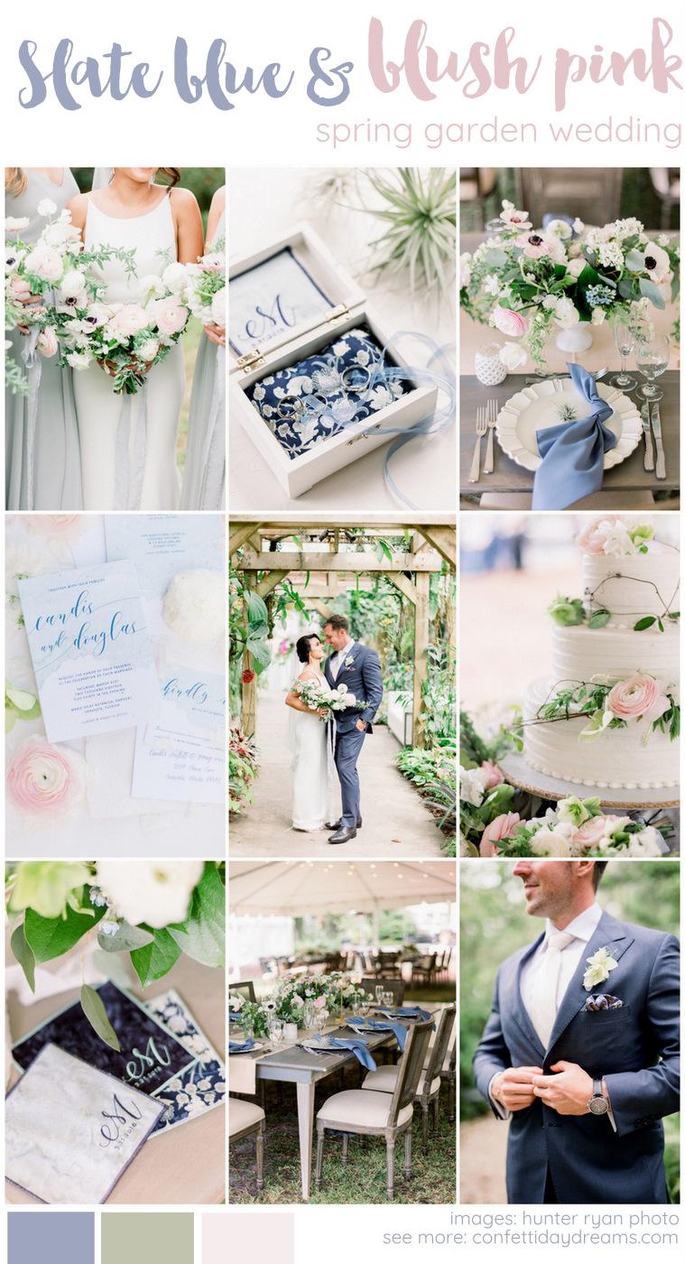 Organic Whimsy: Slate Blue + Blush Pink Spring Wedding