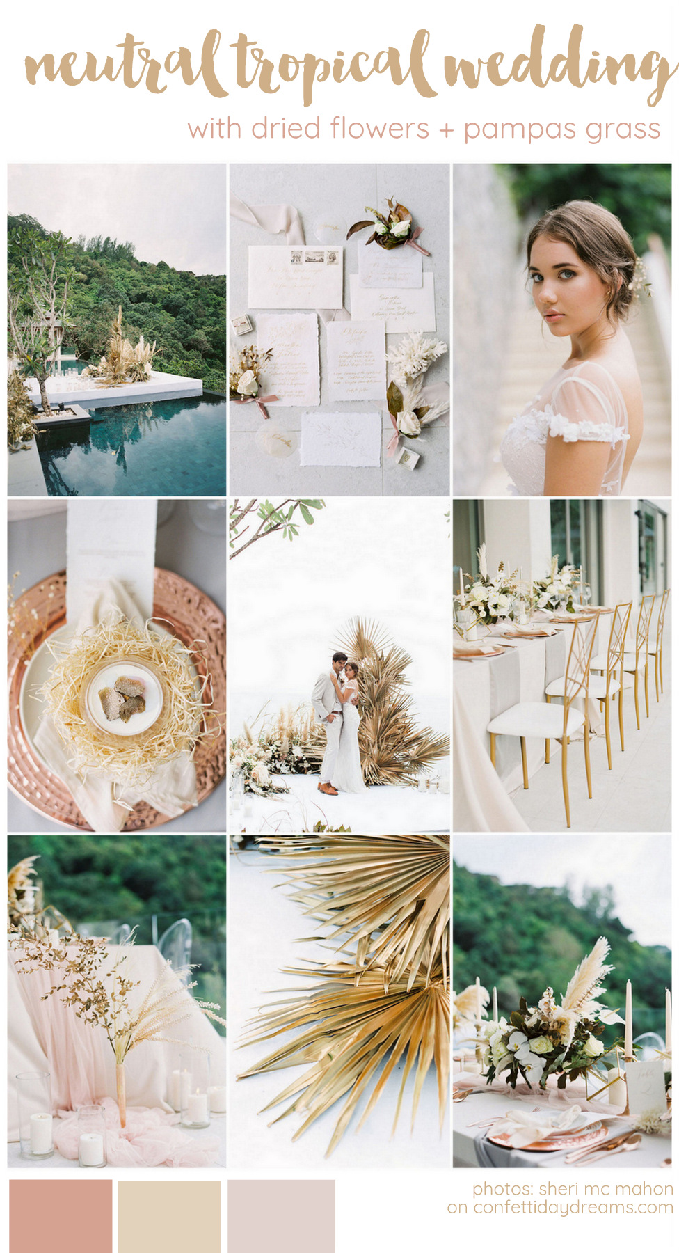 Neutral Dried Flowers and Pampas Grass Wedding