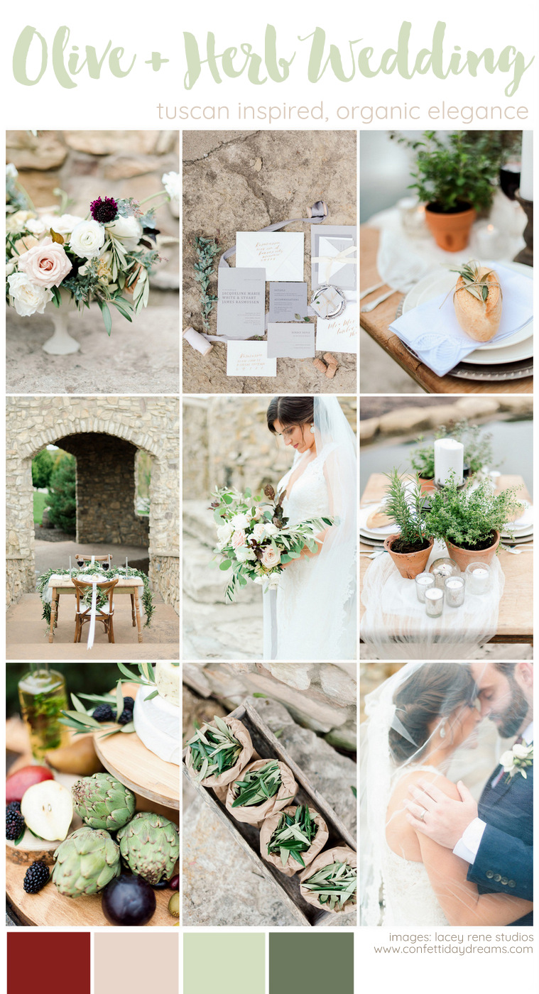 Olive + Herb Themed, Organic Wedding Ideas Inspired by Tuscany