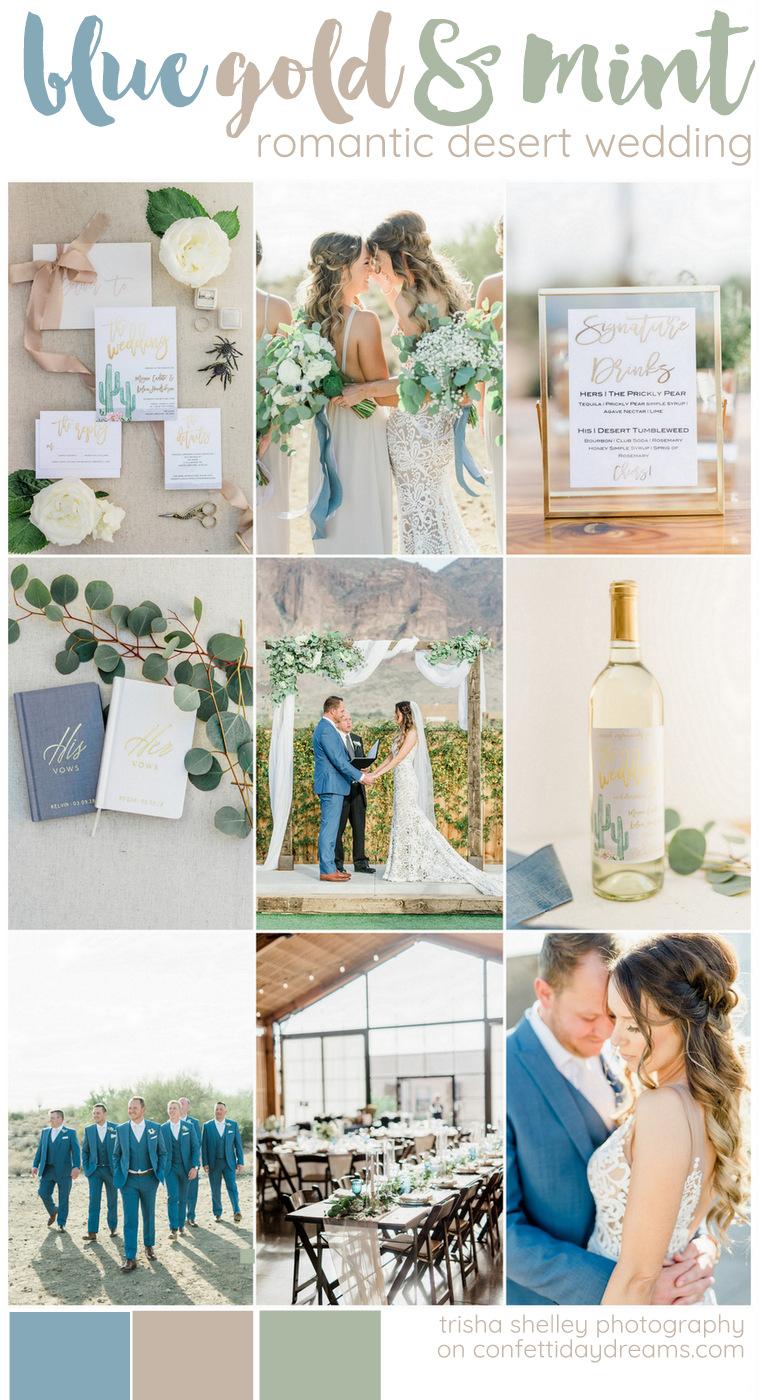 Blue Gold and Mint Desert Wedding