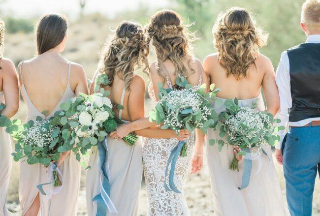 Dreamy Blue, Gold + Mint Desert Wedding in Arizona