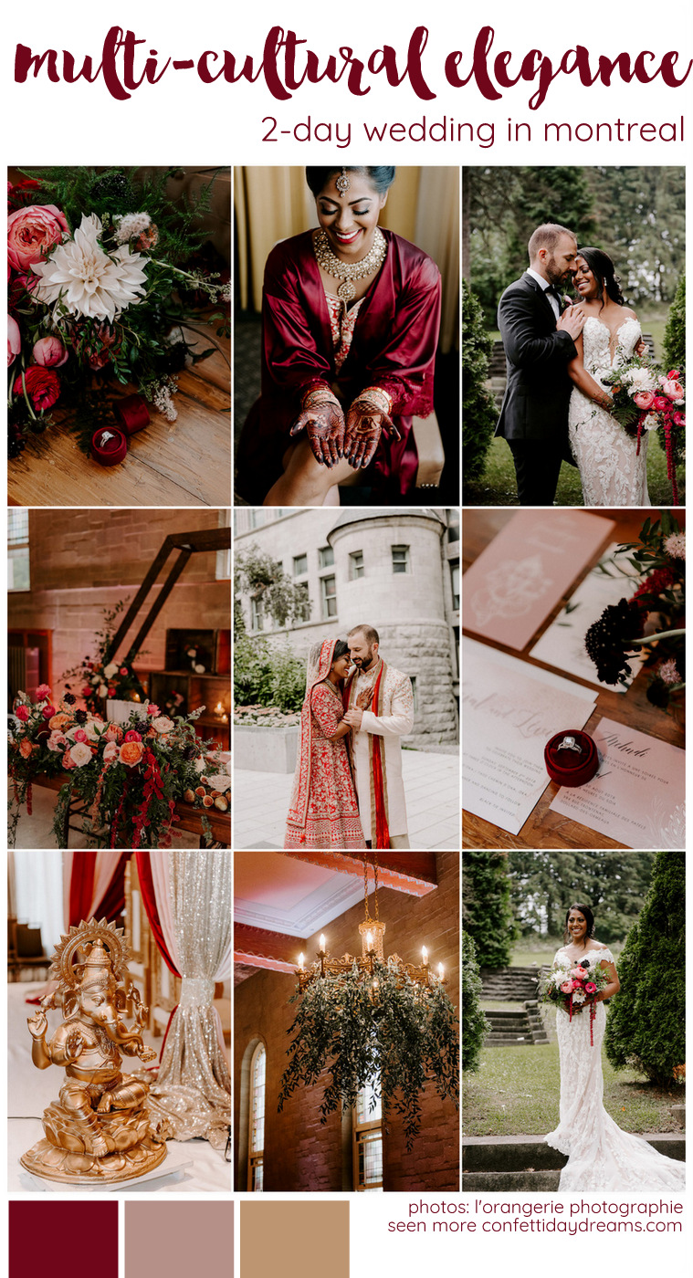 Red and Gold Indian Western Multicultural Wedding