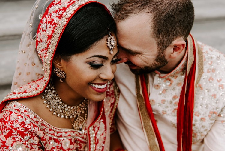 Red and Gold Indian Western Wedding