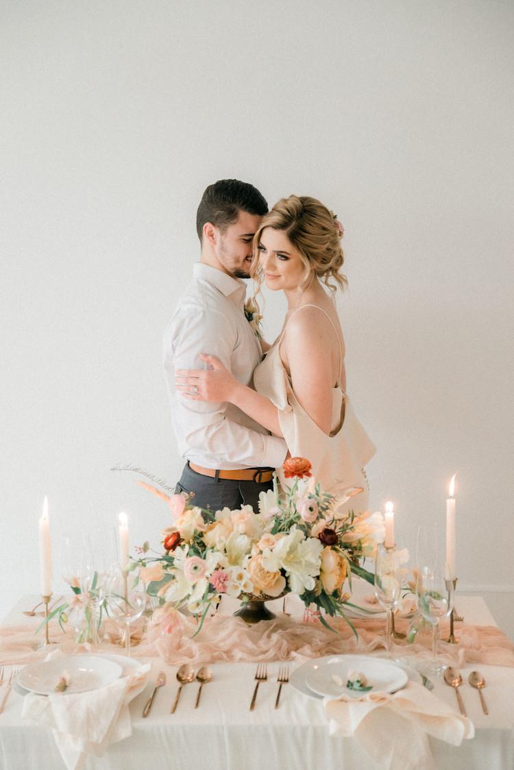 peach cream and blush pampas grass wedding