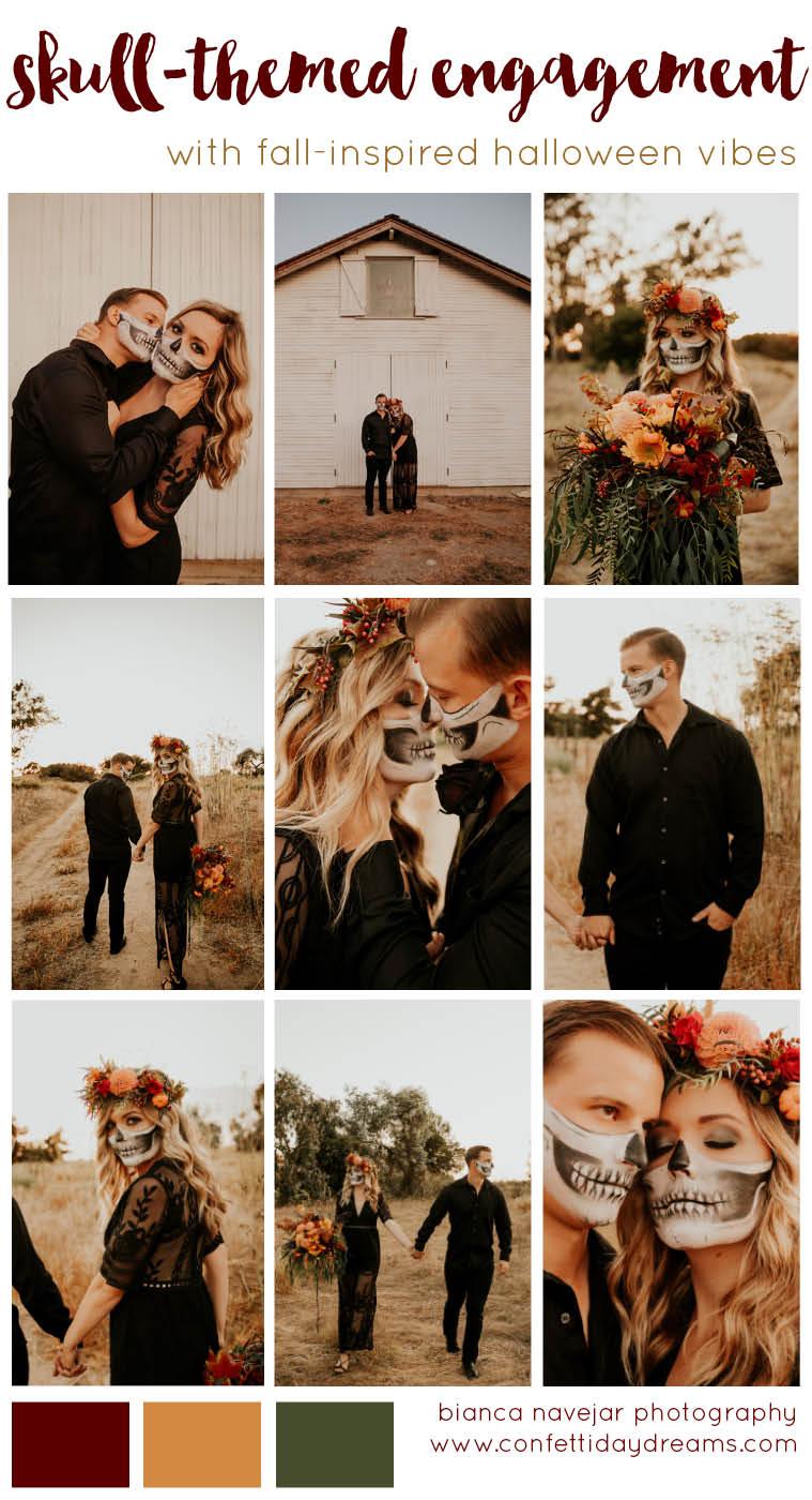 Halloween Fall Skull Face Paint Couple Engagement