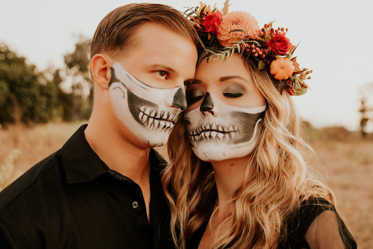Halloween Skull Face Paint Fall Engagement Shoot