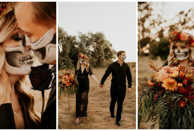Halloween Fall Engagement Couple with Painted Skull Masks