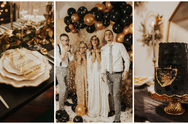 Black and Gold WInter Wedding