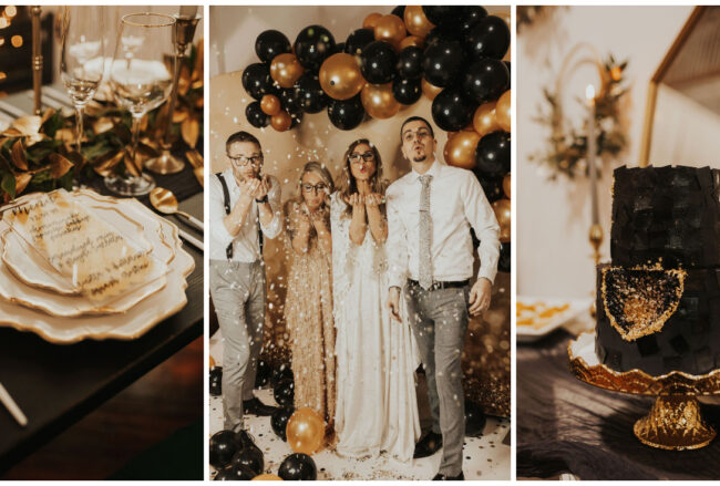 Cozy, Couples' Winter Elopement in Gold + Black