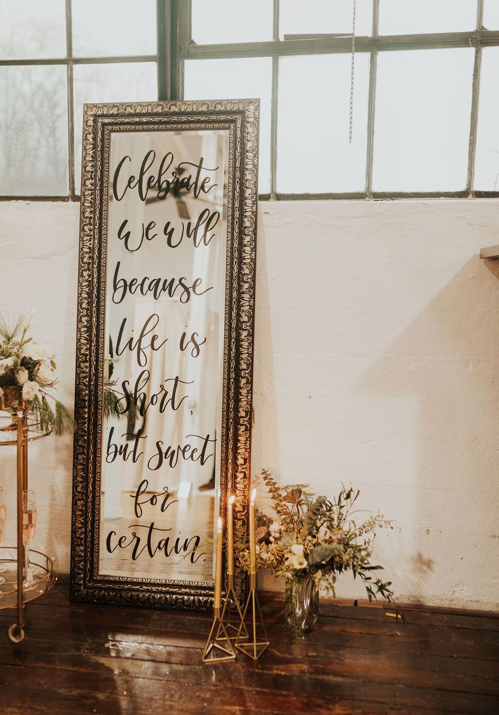 Intimate Black and Gold WInter Wedding Vegan