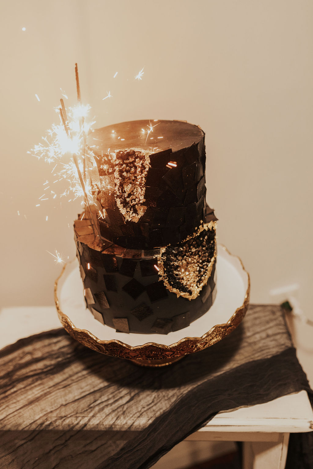 Intimate Black and Gold WInter Wedding Vegan