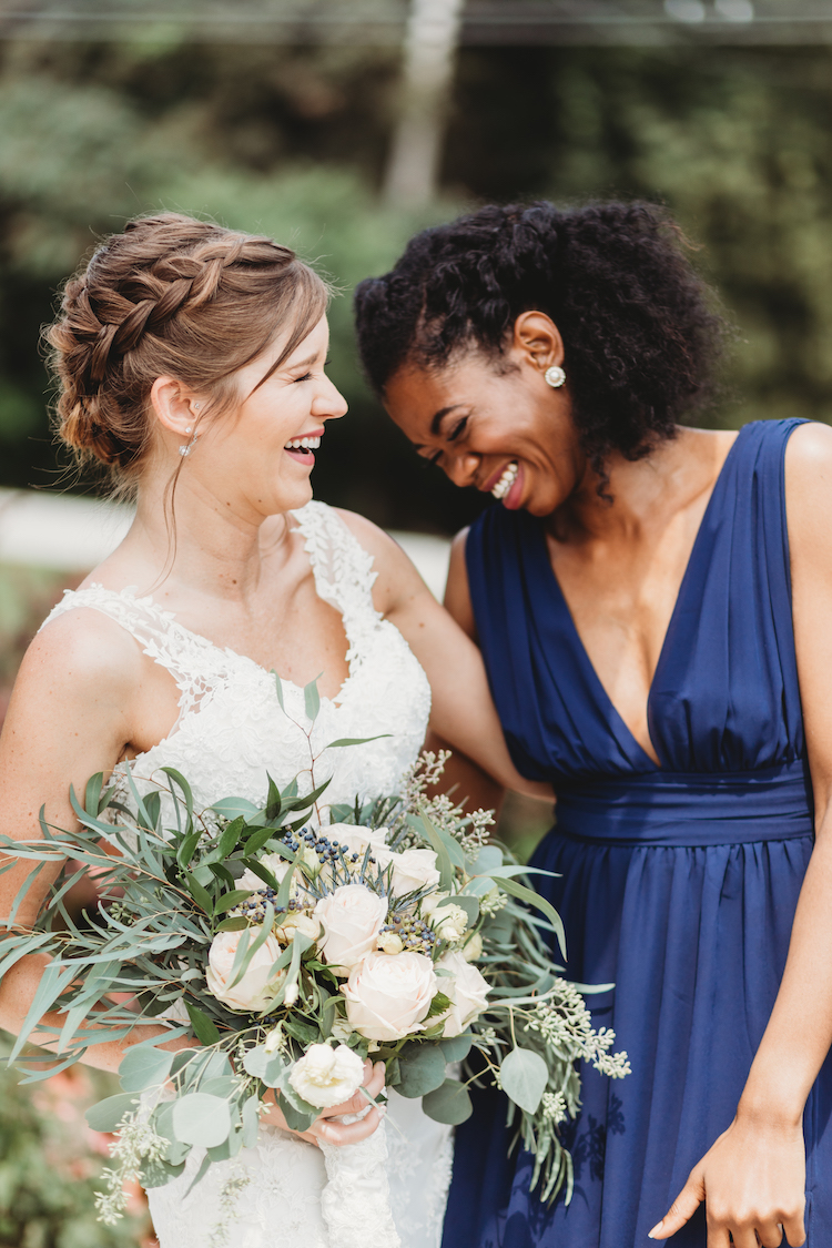 Sustainable Wedding in Navy Gold Greenery